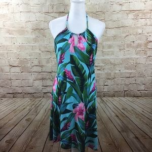 Tommy Bahama Blue Tropical Halter Dress Small